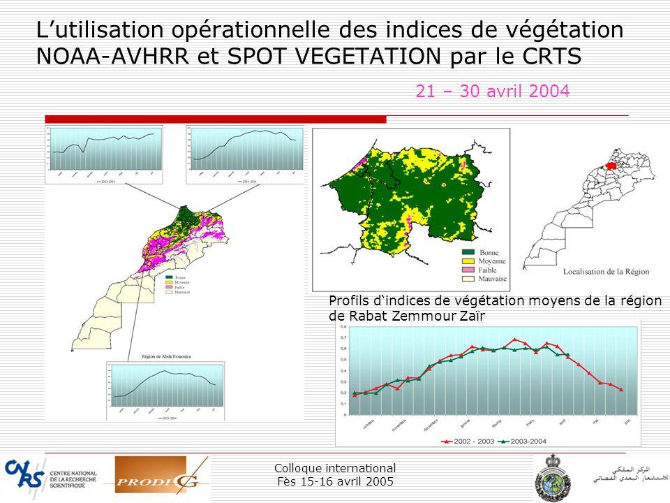 Colloque international Fès 15-16 avril 2005 13 Lutilisation opérationnelle des indices de végétation NOAA-AVHRR et SPOT VEGETATION par le CRTS 21 – 30