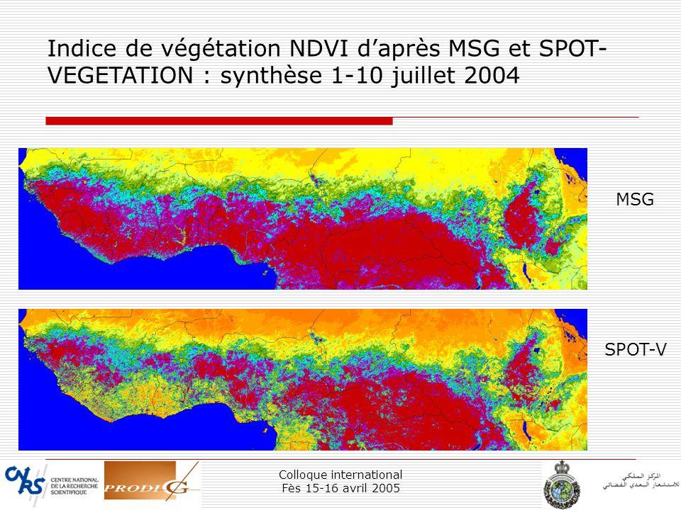 Colloque international Fès 15-16 avril 2005 25 Indice de végétation NDVI daprès MSG et SPOT- VEGETATION : synthèse 1-10 juillet 2004 MSG SPOT-V