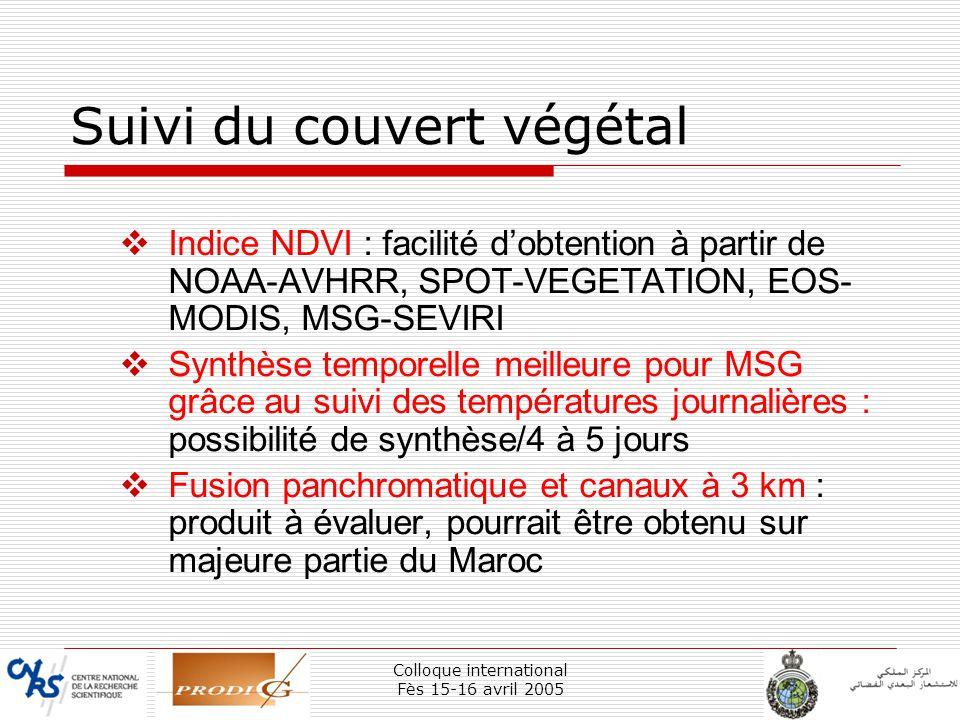 Colloque international Fès 15-16 avril 2005 37 Suivi du couvert végétal Indice NDVI : facilité dobtention à partir de NOAA-AVHRR, SPOT-VEGETATION, EOS