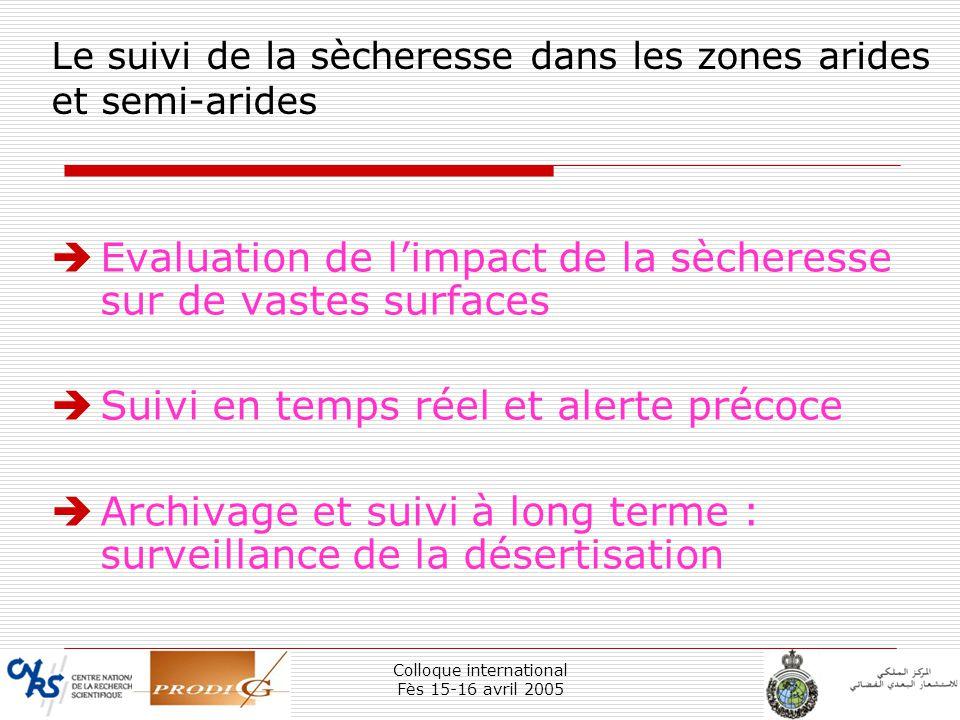 Colloque international Fès 15-16 avril 2005 4 Le suivi de la sècheresse dans les zones arides et semi-arides Evaluation de limpact de la sècheresse su