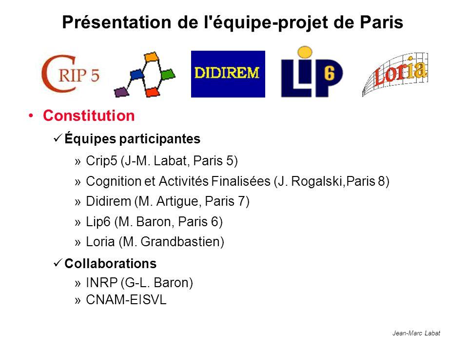 Jean-Marc Labat Présentation de l'équipe-projet de Paris Constitution Équipes participantes »Crip5 (J-M. Labat, Paris 5) »Cognition et Activités Final