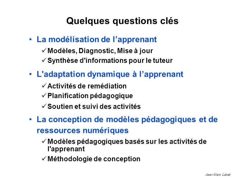 Jean-Marc Labat Quelques questions clés La modélisation de lapprenant Modèles, Diagnostic, Mise à jour Synthèse d'informations pour le tuteur L'adapta