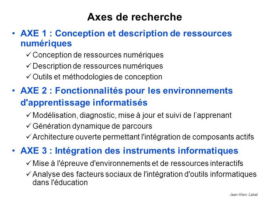 Jean-Marc Labat Axes de recherche AXE 1 : Conception et description de ressources numériques Conception de ressources numériques Description de ressou