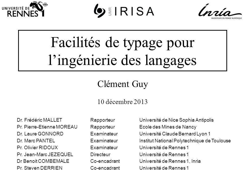 Facilités de typage pour lingénierie des langages Dr.