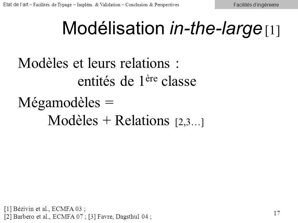 Modélisation in-the-large [1] Modèles et leurs relations : entités de 1 ère classe Mégamodèles = Modèles + Relations [2,3…] 17 [1] Bézivin et al., ECMFA 03 ; [2] Barbero et al., ECMFA 07 ; [3] Favre, Dagsthul 04 ; Etat de lart – Facilités de Typage – Implém.