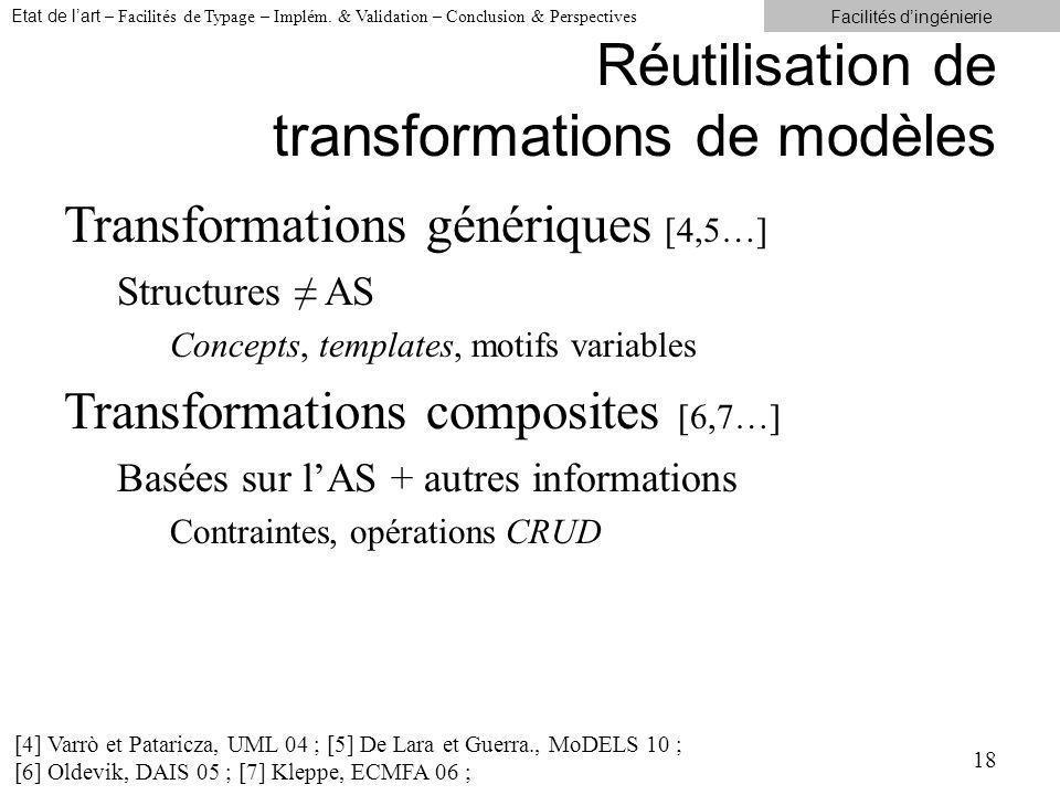 Réutilisation de transformations de modèles Transformations génériques [4,5…] Structures AS Concepts, templates, motifs variables Transformations composites [6,7…] Basées sur lAS + autres informations Contraintes, opérations CRUD 18 [4] Varrò et Pataricza, UML 04 ; [5] De Lara et Guerra., MoDELS 10 ; [6] Oldevik, DAIS 05 ; [7] Kleppe, ECMFA 06 ; Etat de lart – Facilités de Typage – Implém.