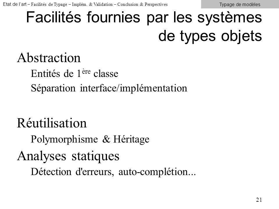 Facilités fournies par les systèmes de types objets Abstraction Entités de 1 ère classe Séparation interface/implémentation Réutilisation Polymorphisme & Héritage Analyses statiques Détection d erreurs, auto-complétion...