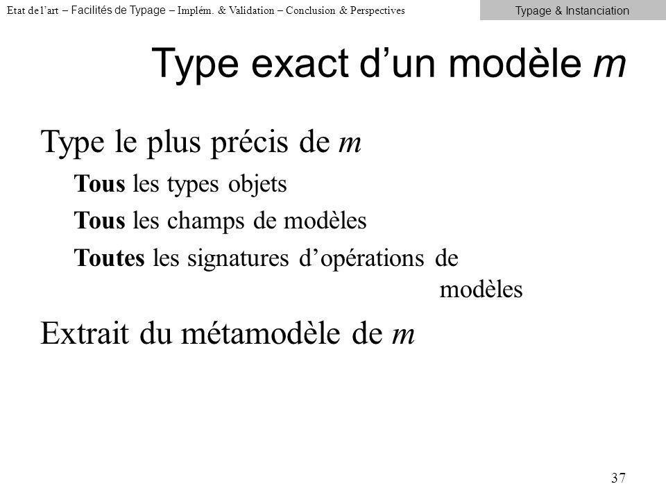 Type exact dun modèle m Type le plus précis de m Tous les types objets Tous les champs de modèles Toutes les signatures dopérations de modèles Extrait du métamodèle de m 37 Etat de lart – Facilités de Typage – Implém.