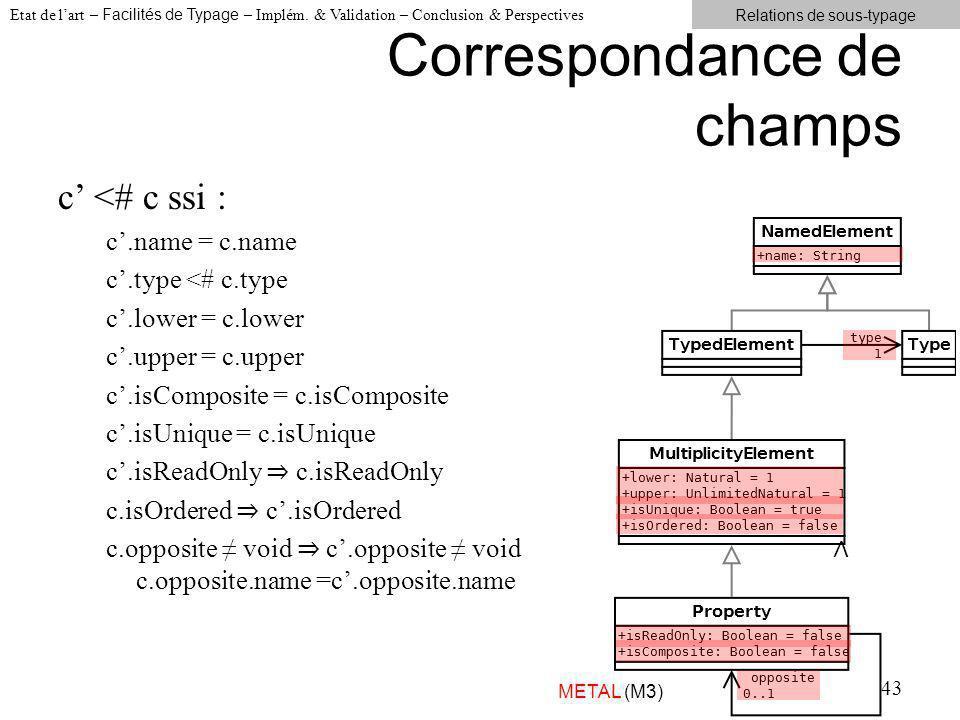 Correspondance de champs 43 c <# c ssi : c.name = c.name c.type <# c.type c.lower = c.lower c.upper = c.upper c.isComposite = c.isComposite c.isUnique = c.isUnique c.isReadOnly c.isOrdered c.opposite void c.opposite void c.opposite.name =c.opposite.name Etat de lart – Facilités de Typage – Implém.