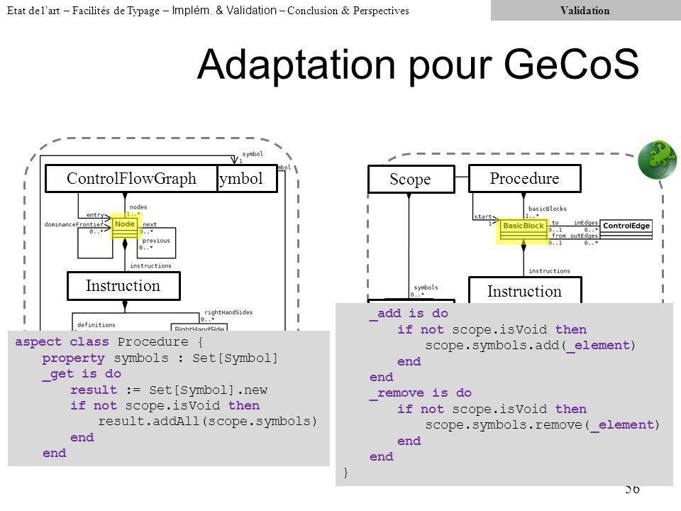 Adaptation pour GeCoS 56 Etat de lart – Facilités de Typage – Implém.