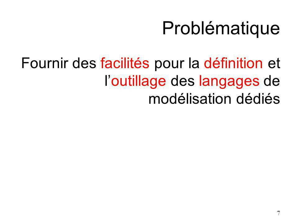 Problématique Fournir des facilités pour la définition et loutillage des langages de modélisation dédiés 7