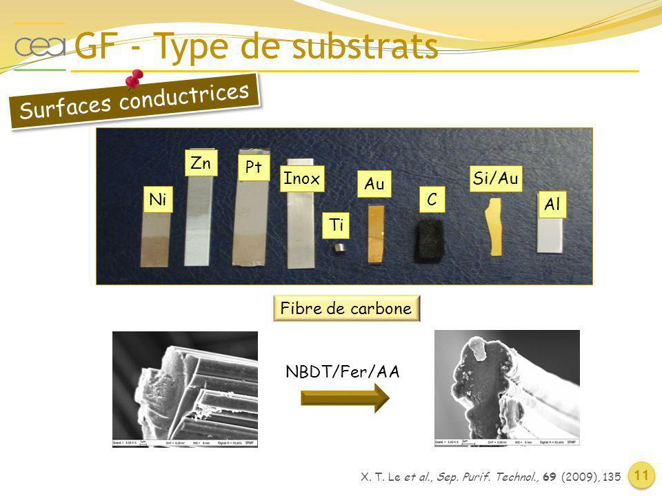 GF - Type de substrats 11 Ni Zn Pt Inox Ti Au C Si/Au Al Surfaces conductrices Fibre de carbone NBDT/Fer/AA X.