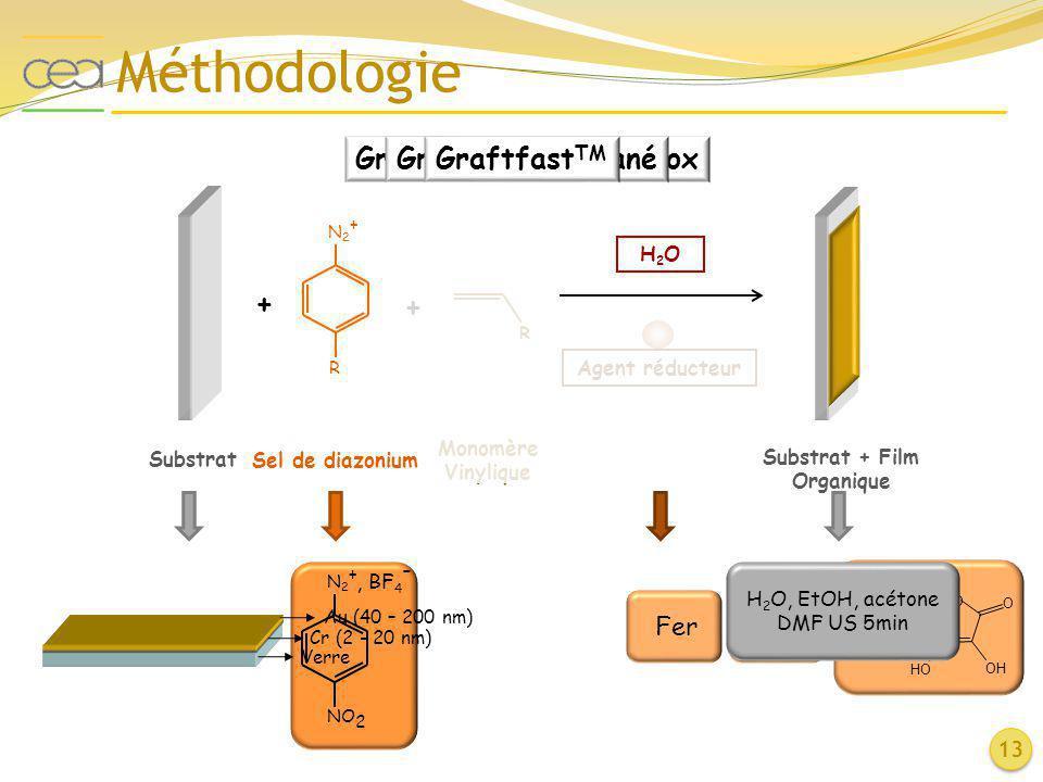 N2+N2+ NO 2 Méthodologie 13 N2+N2+ R Sel de diazonium + Substrat + R Monomère Vinylique Substrat + Film Organique H2OH2O Agent réducteur Au (40 – 200
