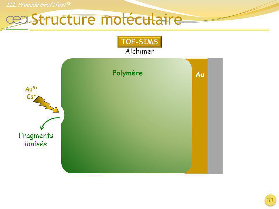 Structure moléculaire 33 Polymère Au 3+ Cs + Fragments ionisés Au TOF-SIMS Alchimer III. Procédé Graftfast TM
