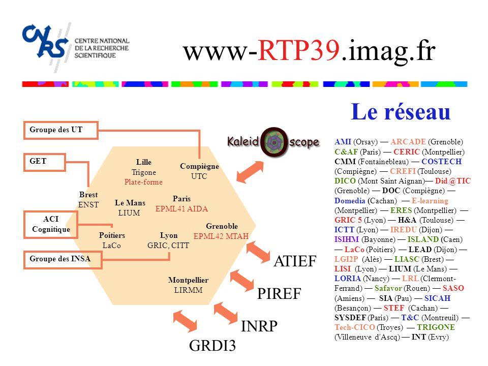 Lille Trigone Plate-forme Le Mans LIUM Paris EPML41 AIDA Groupe des UT Groupe des INSA GET Compiègne UTC Brest ENST Poitiers LaCo ACI Cognitique Greno