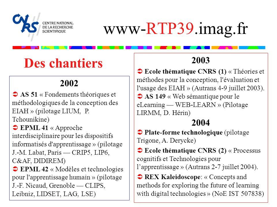Des chantiers www-RTP39.imag.fr 2003 Ecole thématique CNRS (1) « Théories et méthodes pour la conception, l évaluation et l usage des EIAH » (Autrans 4-9 juillet 2003).