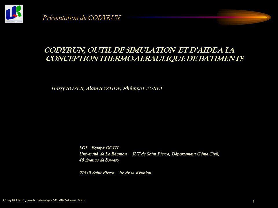 Harry BOYER, Journée thématique SFT-IBPSA mars 2005 1 Présentation de CODYRUN CODYRUN, OUTIL DE SIMULATION ET DAIDE A LA CONCEPTION THERMO-AERAULIQUE