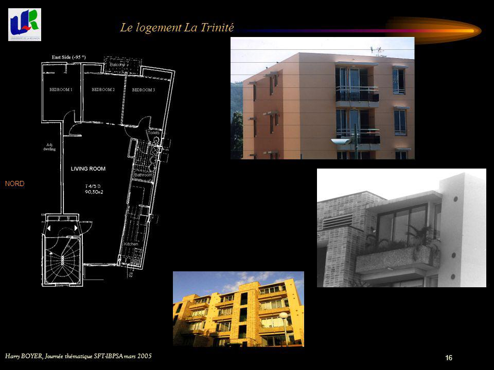 Harry BOYER, Journée thématique SFT-IBPSA mars 2005 16 Le logement La Trinité NORD