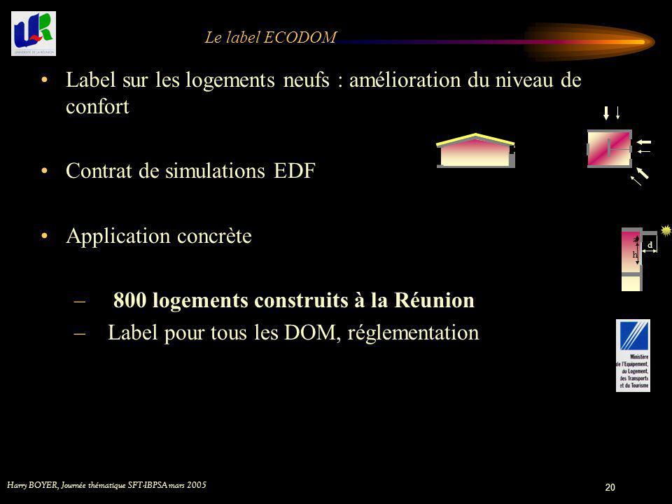 Harry BOYER, Journée thématique SFT-IBPSA mars 2005 20 Le label ECODOM Label sur les logements neufs : amélioration du niveau de confort Contrat de si