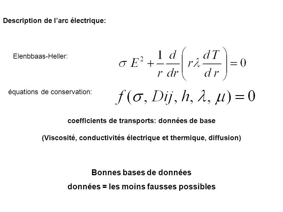 Description de larc électrique: Elenbbaas-Heller: équations de conservation: Bonnes bases de données données = les moins fausses possibles coefficient