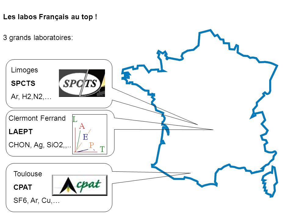 Les labos Français au top ! 3 grands laboratoires: Limoges SPCTS Ar, H2,N2,… Clermont Ferrand LAEPT CHON, Ag, SiO2,,.. Toulouse CPAT SF6, Ar, Cu,…