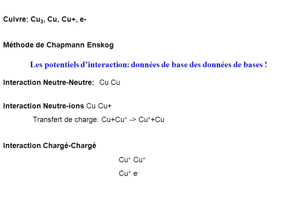 Utilisation des coefficients de transport C.Achard, W.