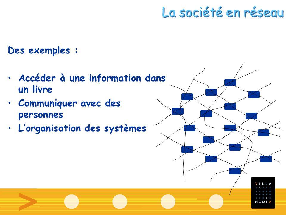Des exemples : Accéder à une information dans un livre Communiquer avec des personnes Lorganisation des systèmes La société en réseau