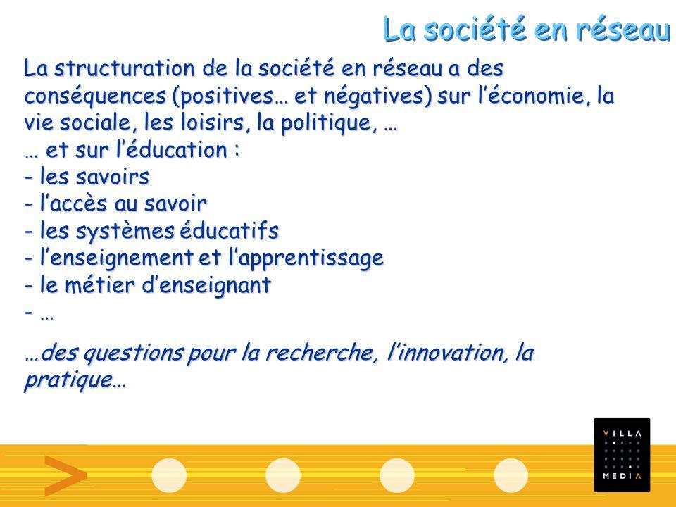 La structuration de la société en réseau a des conséquences (positives… et négatives) sur léconomie, la vie sociale, les loisirs, la politique, … … et