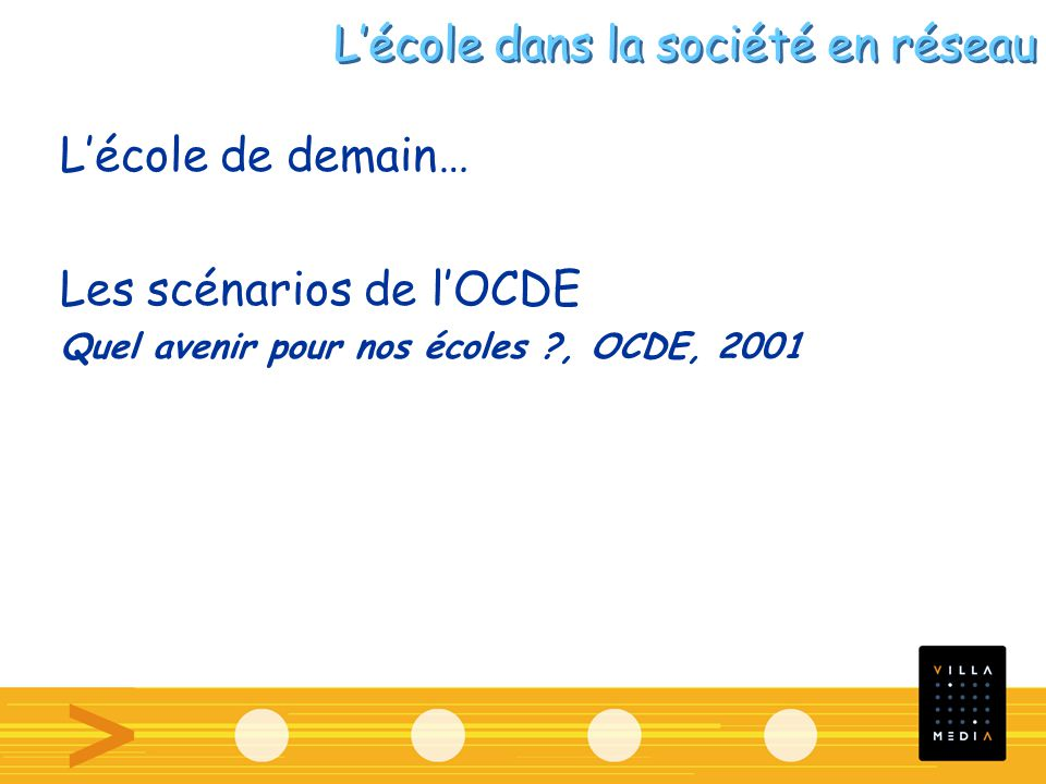 Lécole de demain… Les scénarios de lOCDE Quel avenir pour nos écoles , OCDE, 2001 Lécole dans la société en réseau