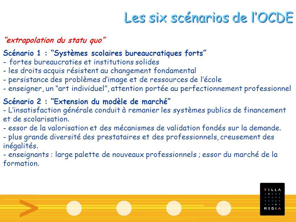 Les six scénarios de lOCDE extrapolation du statu quo Scénario 1 : Systèmes scolaires bureaucratiques forts - fortes bureaucraties et institutions sol