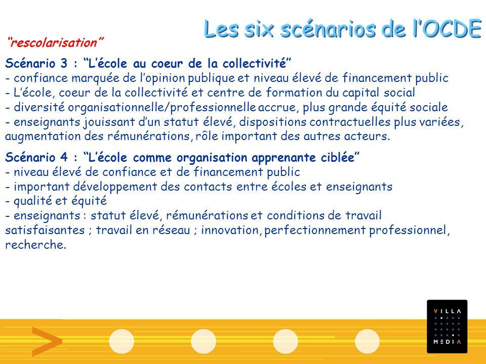 Les six scénarios de lOCDE rescolarisation Scénario 3 : Lécole au coeur de la collectivité - confiance marquée de lopinion publique et niveau élevé de