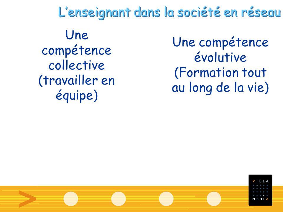Une compétence collective (travailler en équipe) Une compétence évolutive (Formation tout au long de la vie) Lenseignant dans la société en réseau
