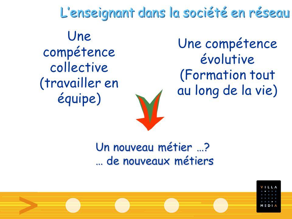 Une compétence collective (travailler en équipe) Un nouveau métier ….