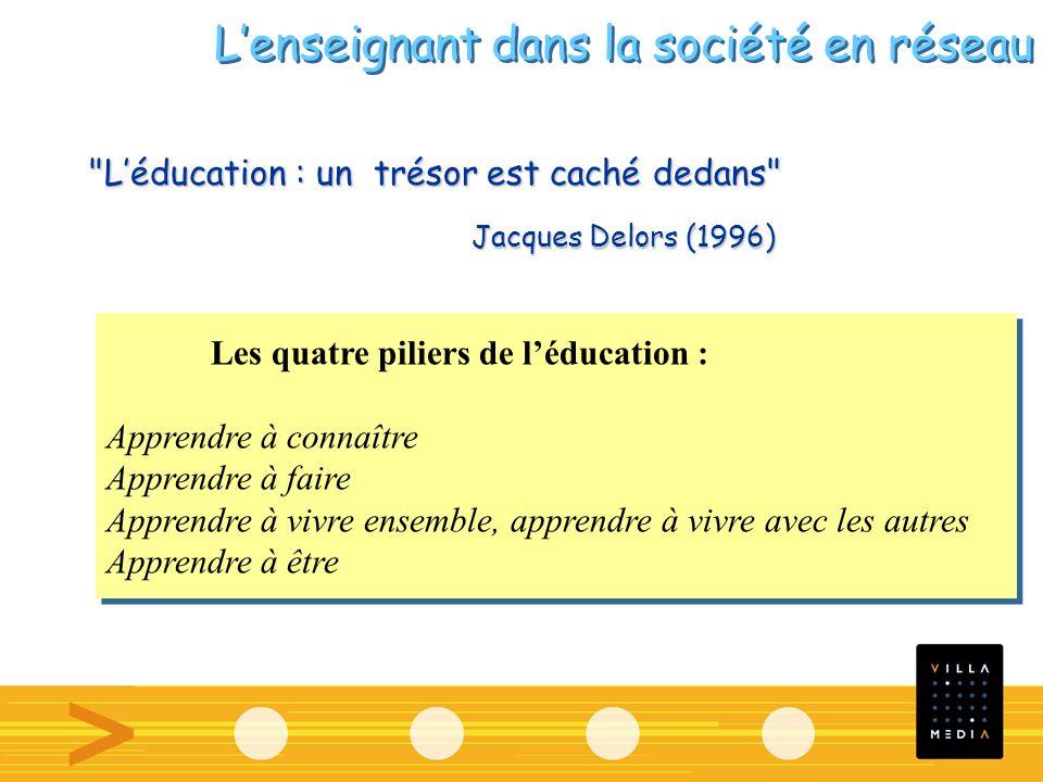 Léducation : un trésor est caché dedans Les quatre piliers de léducation : Apprendre à connaître Apprendre à faire Apprendre à vivre ensemble, apprendre à vivre avec les autres Apprendre à être Les quatre piliers de léducation : Apprendre à connaître Apprendre à faire Apprendre à vivre ensemble, apprendre à vivre avec les autres Apprendre à être Jacques Delors (1996) Lenseignant dans la société en réseau