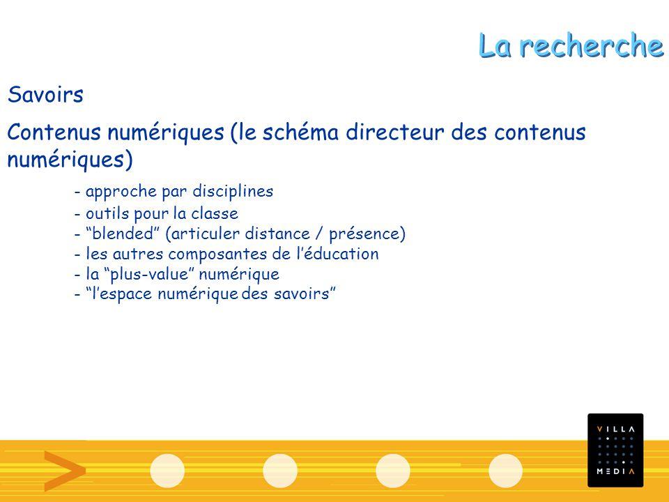 Savoirs Contenus numériques (le schéma directeur des contenus numériques) - approche par disciplines - outils pour la classe - blended (articuler dist