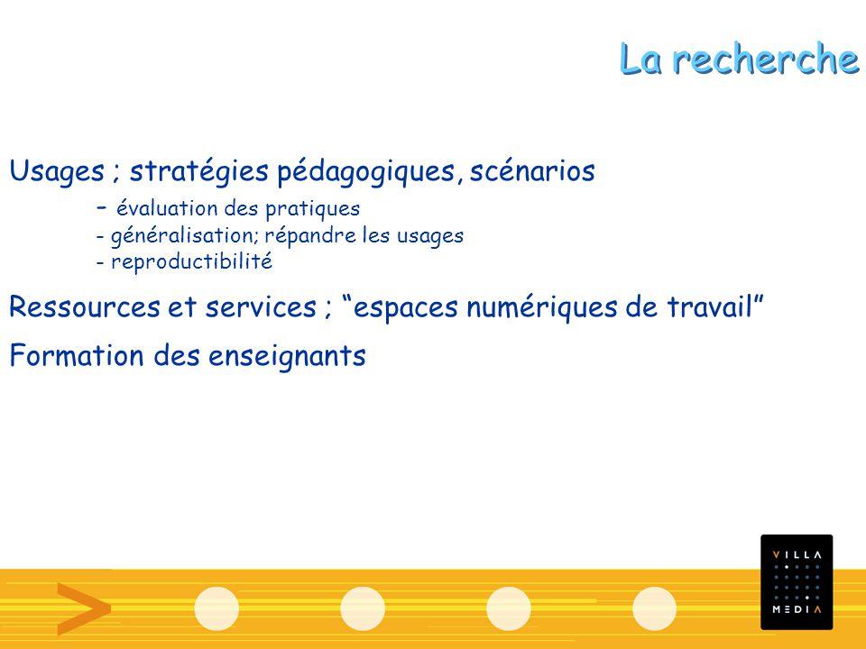 Usages ; stratégies pédagogiques, scénarios - évaluation des pratiques - généralisation; répandre les usages - reproductibilité Ressources et services ; espaces numériques de travail Formation des enseignants La recherche
