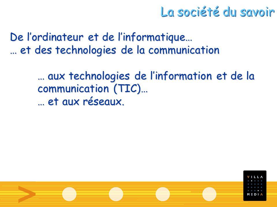 De lordinateur et de linformatique… … et des technologies de la communication … aux technologies de linformation et de la communication (TIC)… … et aux réseaux.