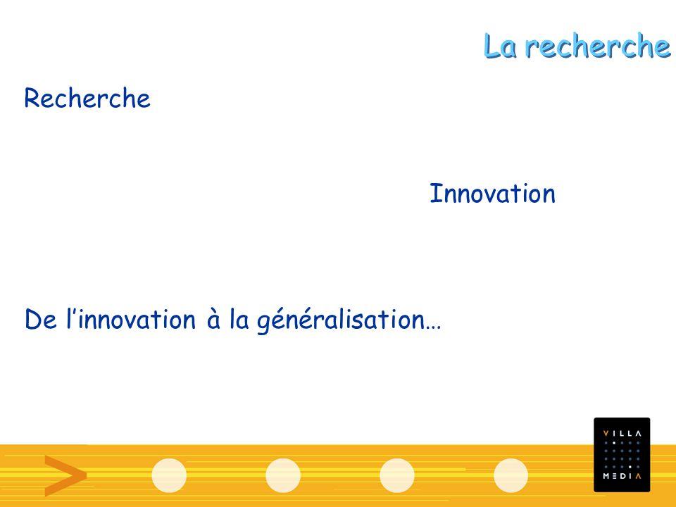 Recherche Innovation De linnovation à la généralisation… La recherche
