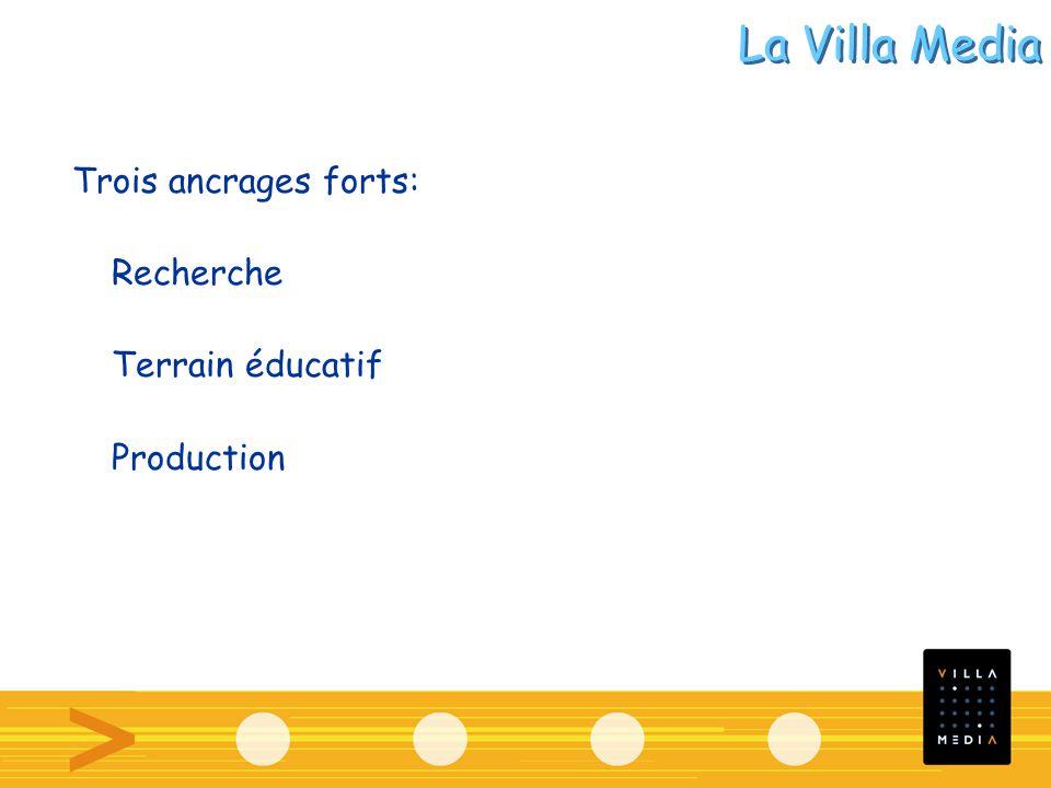Trois ancrages forts: Recherche Terrain éducatif Production La Villa Media