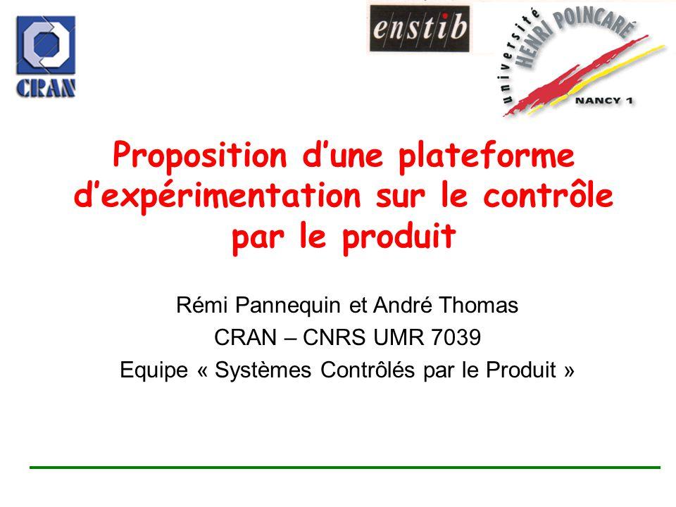 Proposition dune plateforme dexpérimentation sur le contrôle par le produit Rémi Pannequin et André Thomas CRAN – CNRS UMR 7039 Equipe « Systèmes Cont
