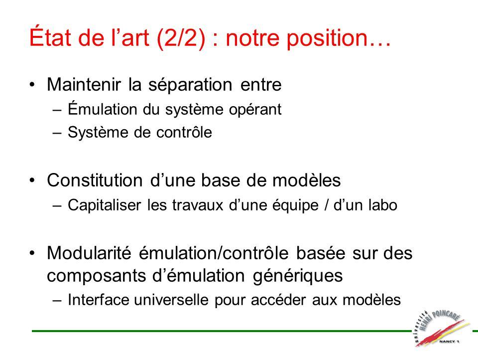 Maintenir la séparation entre –Émulation du système opérant –Système de contrôle Constitution dune base de modèles –Capitaliser les travaux dune équip