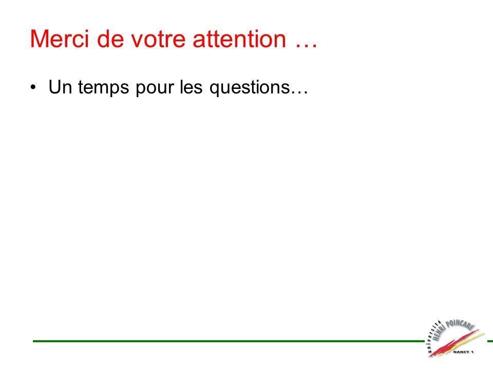 Merci de votre attention … Un temps pour les questions…