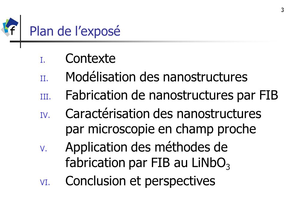 3 Plan de lexposé I. Contexte II. Modélisation des nanostructures III. Fabrication de nanostructures par FIB IV. Caractérisation des nanostructures pa