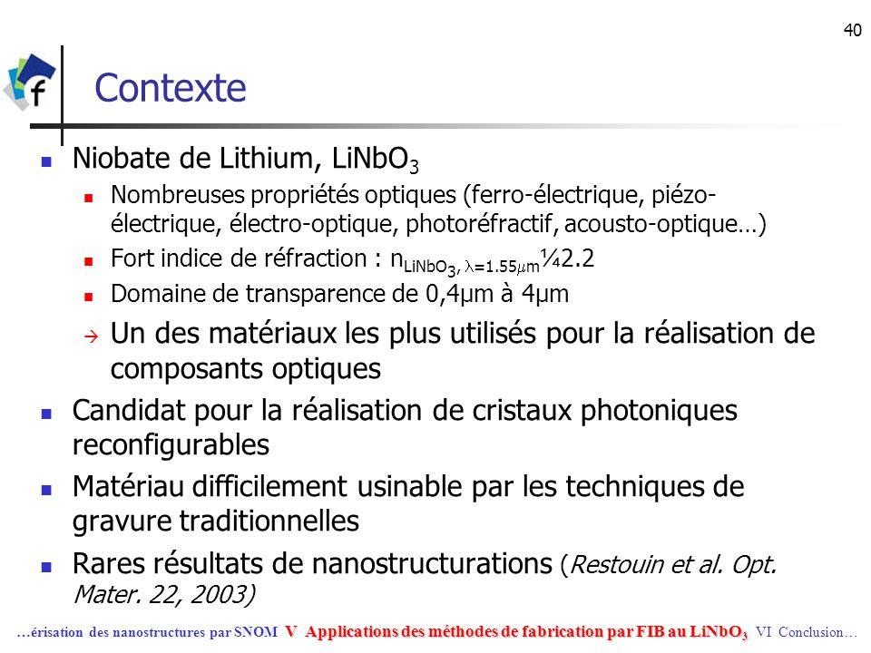 40 Contexte Niobate de Lithium, LiNbO 3 Nombreuses propriétés optiques (ferro-électrique, piézo- électrique, électro-optique, photoréfractif, acousto-