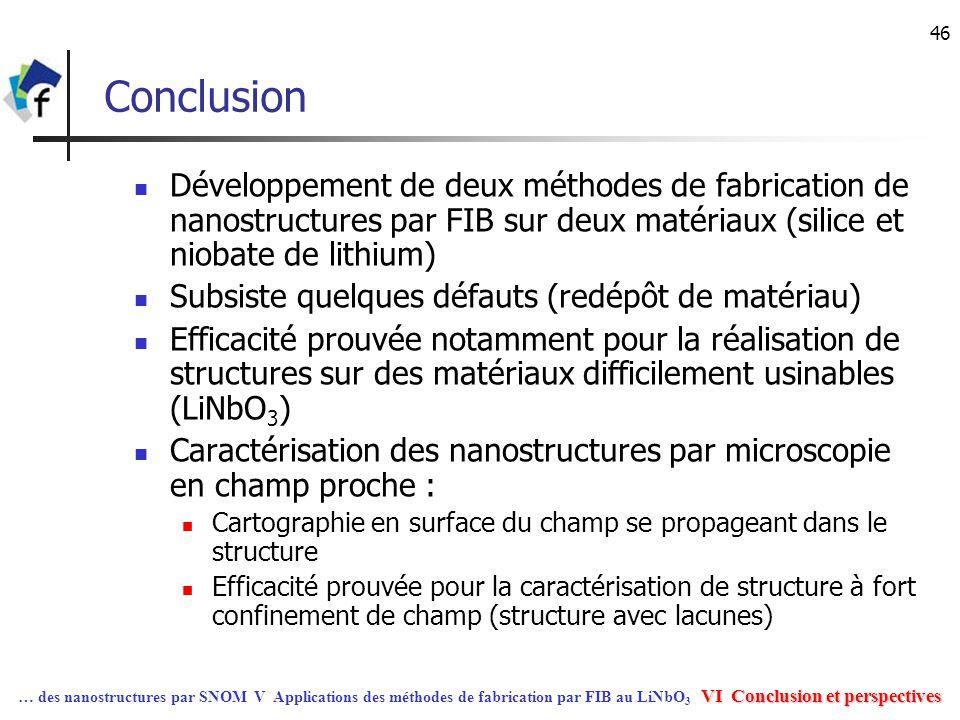46 Conclusion Développement de deux méthodes de fabrication de nanostructures par FIB sur deux matériaux (silice et niobate de lithium) Subsiste quelq