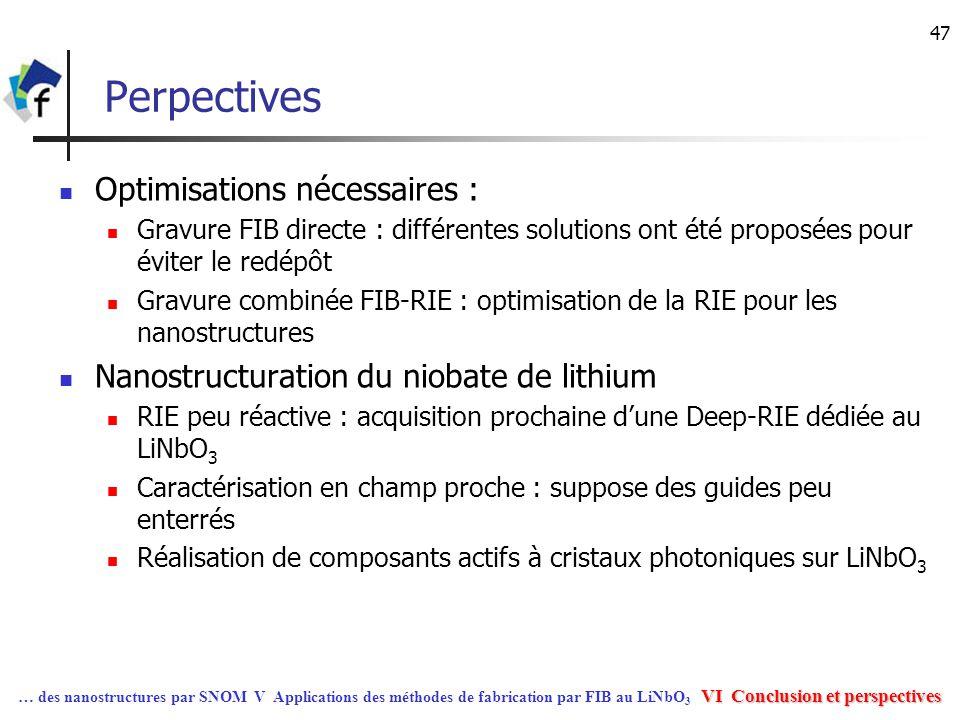 47 Perpectives Optimisations nécessaires : Gravure FIB directe : différentes solutions ont été proposées pour éviter le redépôt Gravure combinée FIB-R