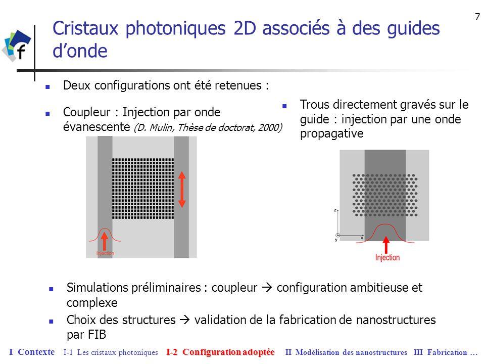 8 Fabrication dun cristal photonique bidimentionnel associé à un guide donde Techniques de fabrication issues de la technologie des semi-conducteurs Méthode la plus répandue : lithographie électronique MEB associée à une technique de gravure (chimique ou séche) Avantages : précision (résolution jusquà 5nm), ensemble des motifs gravés en même temps (homogénéité de la structure) Inconvénient : difficulté de positionnements (utilisation de repères) Méthode choisie : utilisation dun FIB Motivation : positionnement de visu par rapport aux guides, résolution (moins de 50nm), possibilité de gravure directe I-2 Configuration adoptée I Contexte I-1 Les cristaux photoniques I-2 Configuration adoptée II Modélisation des nanostructures III Fabrication …