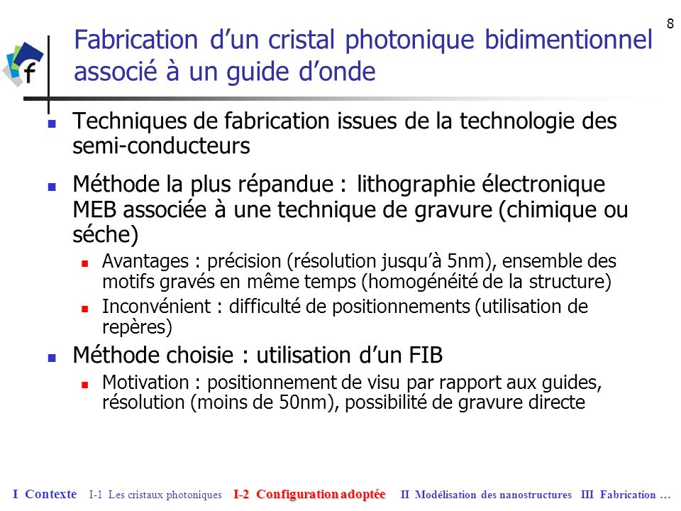 19 Partie III Fabrication de nanostructures par FIB