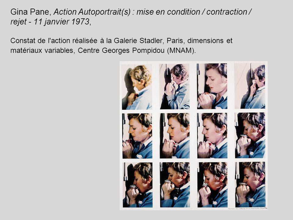 Gina Pane, Action Autoportrait(s) : mise en condition / contraction / rejet - 11 janvier 1973, Constat de l'action réalisée à la Galerie Stadler, Pari