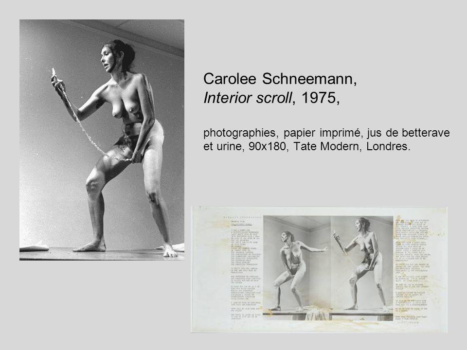 Carolee Schneemann, Interior scroll, 1975, photographies, papier imprimé, jus de betterave et urine, 90x180, Tate Modern, Londres.